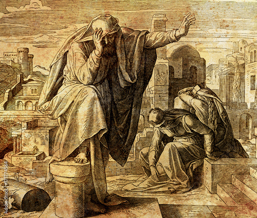 Obraz na plátně The cry of Jeremiah the prophet, graphic collage from engraving of Nazareene School, published in The Holy Bible, St