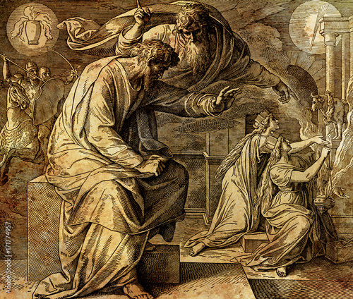God calls the prophet Jeremiah, graphic collage from engraving of Nazareene School, published in The Holy Bible, St Canvas Print