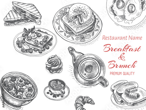 Vector illustration sketch - breakfast. Card Menu brunch. vintage design template, banner.