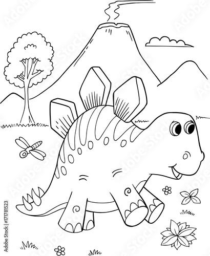 Cute Stegosaurus Dinosaur Vector Illustration Art Wallpaper Mural