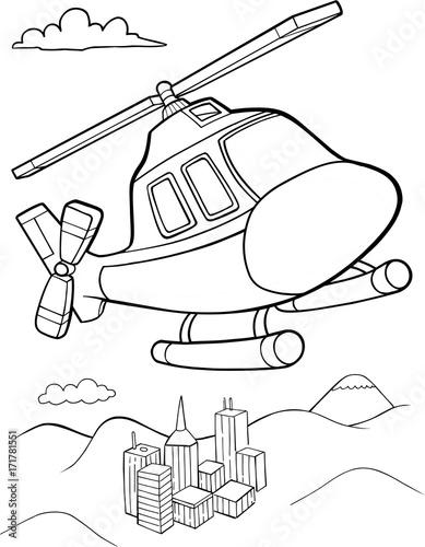 Papiers peints Cartoon draw Cute Helicopter Vector Illustration Art