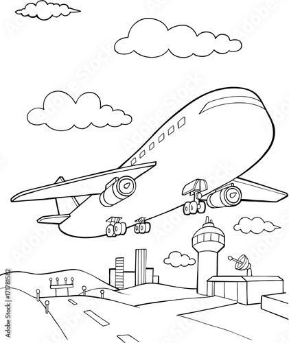 Spoed Foto op Canvas Cartoon draw Jet Aircraft Vector Illustration Art