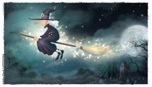bruja volando por la noche tenebrosa Canvas Print