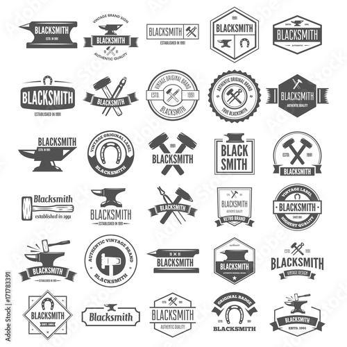 Set of vector logotypes elements, labels, badges and silhouettes for blacksmith Canvas Print