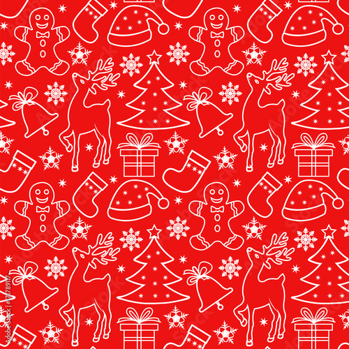 Cotton fabric Seamless Christmas pattern with white elements on a red background, outline drawing, traditional Christmas elements - tree, gift, snowflakes, reindeer, gingerbread man, santa hat, sock, bell.