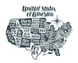 USA map country, United States of America. Lettering, typographic design vector illustration