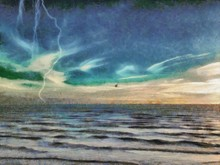 Painted On Canvas Hand Drawn Landscape Of The Storm. Clouds In The Sky And Lightning. Pastel Painting Art.