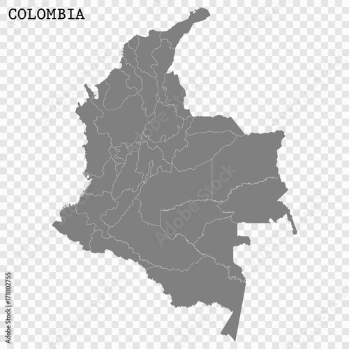 Obraz na plátne High quality map of Colombia with borders of the regions or counties