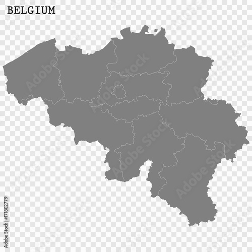 high quality map of belgium with borders of the regions or counties