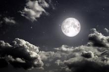 Night Dark Sky With Stars Moon...