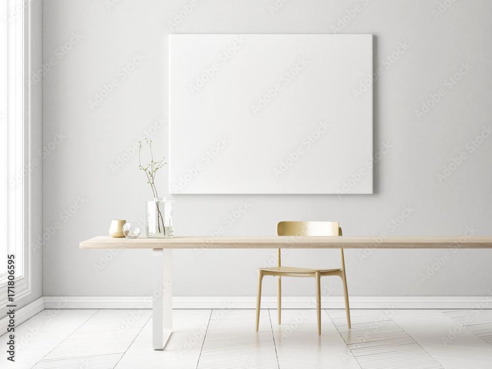 Fototapety, obrazy: Interior minimalism concept design with mock up poster, 3d illustration