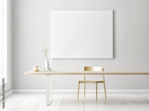Fotografie, Obraz  Interior minimalism concept design with mock up poster, 3d illustration