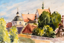 Old Town In Lublin, Poland ,watercolors Painted.