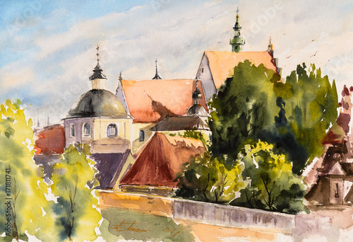 Obraz Old town in Lublin, Poland ,watercolors painted. - fototapety do salonu