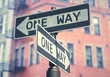 3D illustration. Conceptual image of one-way sign used on several streets on the USA.