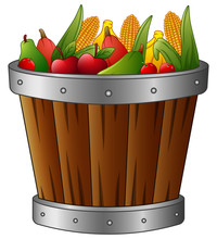 Wooden Basket With Harvest Fruits And Vegetables