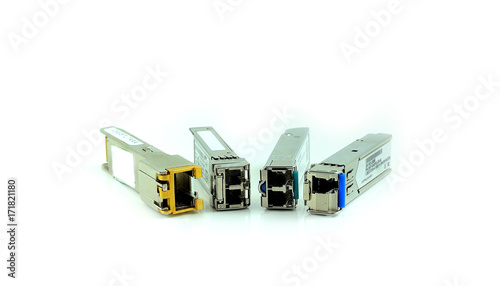 Fotografie, Obraz  Internet SFP Module for network switch isolated on white background