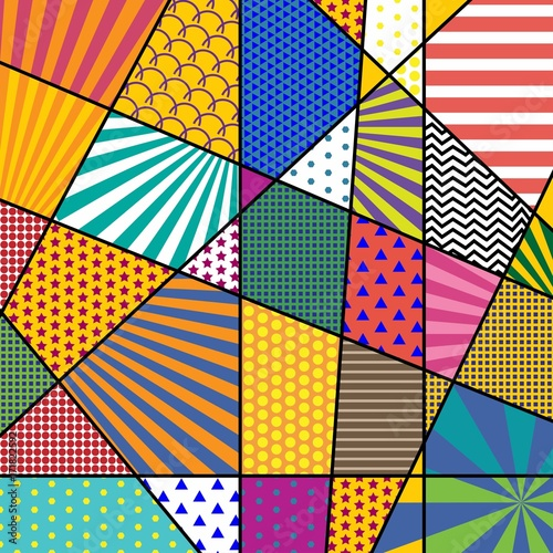 фотография  Colorful trendy geometric flat elements of pattern memphis