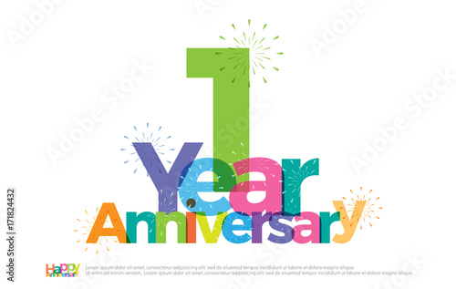 1 year anniversary celebration colorful logo with fireworks on white background 1st anniversary logotype template design for banner poster card vector illustrator wall mural geengraphy 1 year anniversary celebration colorful logo with fireworks on white background 1st anniversary logotype template design for banner poster card