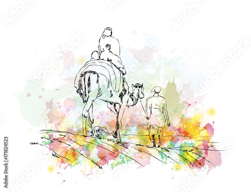 Watercolor sketch of Camel riding as a travel with people in vector illustration Wallpaper Mural