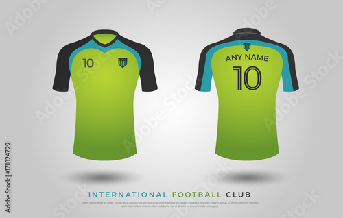 48d2fc81b77 soccer t-shirt design uniform set of soccer kit. football jersey template  for football club. green
