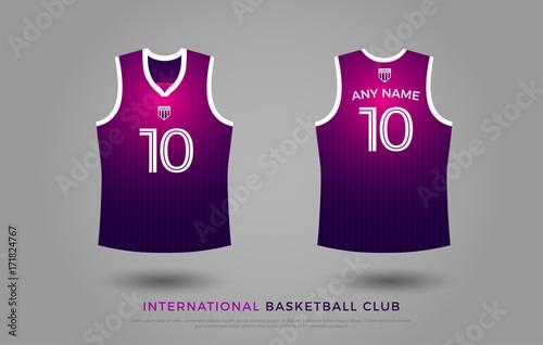 75bbd34d35c basketball t-shirt design uniform set of kit. basketball jersey template.  violet and