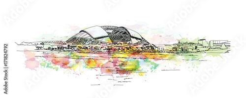 Fotografie, Obraz  Watercolor sketch of Stadium, Singapore in vector illustration.