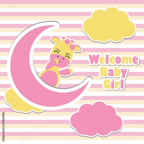 Vector Cartoon Illustration With Cute Giraffe Girls On The Pink Moon And Striped Background Suitable For Baby Shower Invitation Card Design Postcard And Wallpaper Buy This Stock Vector And Explore Similar