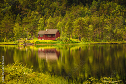 Fotografija wooden cabin in forest on lake shore, Norway