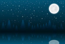 Christmas Nighttime Greeting. Winter Landscape With Coniferous Forestand Full Moon. Vector Illustration