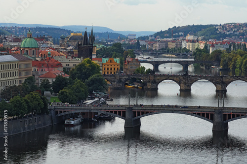 Poster Prague Scenic view of historical center of Prague, buildings and landmarks of old town and bridges on the Vltava river Prague,Czech Rapublic