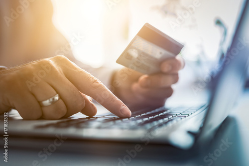 Fotomural  Woman's hand typing on laptop while doing online shopping