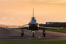 RAF Typhoon Taxis Out At Sunset