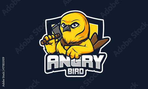 Fotografie, Tablou  Angry Bird E Sport logo, 100%vector editable