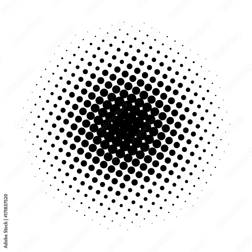 Fototapeta Circle gradient halftone dots background. Pop art template, texture. Vector illustration.