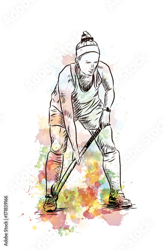 Fototapety, obrazy: Watercolor sketch of Hockey lady player playing hockey in vector illustration.