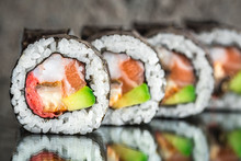 Sushi Roll With Salmon, Shrimp...