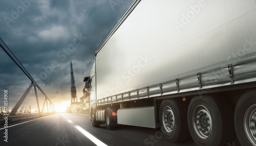 Plakat Ciężarówka przewozi towary