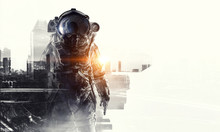 Astronaut In Fantasy World. Mixed Media