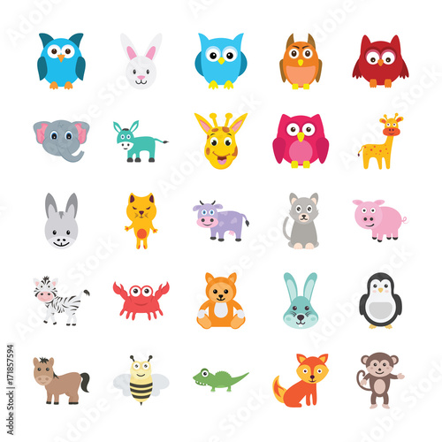 Poster de jardin Zoo Animals Colored Vector Icons 1