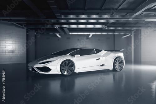 New white sportscar side Canvas Print
