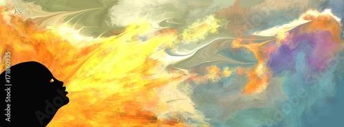 Photo silhouette de visage de femme soufflant le feu sur un ciel nébuleux