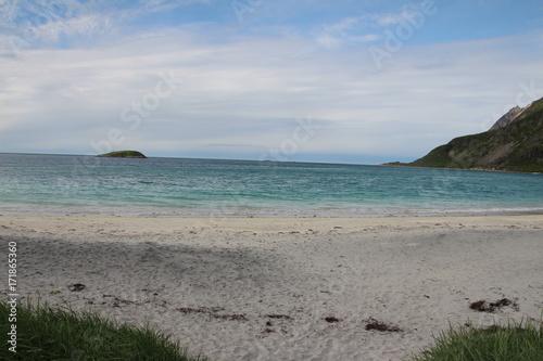 Strand mit blauem Wasser in Norwegen Poster