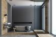 Wooden and black bathroom, round tub