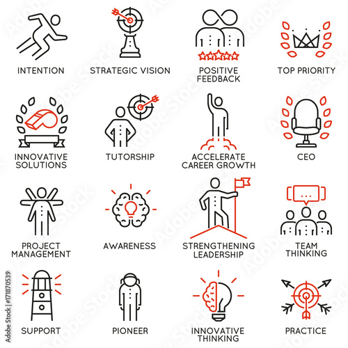 Fotografía Vector set icons related to career progress, corporate management, business people training and professional consulting service