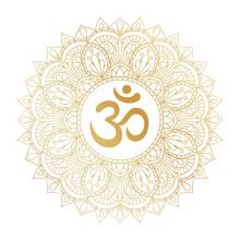 Golden Aum Om Ohm Symbol In De...