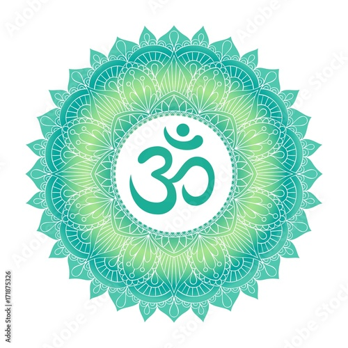 Aum Om Ohm symbol in decorative round mandala ornament. Poster Mural XXL