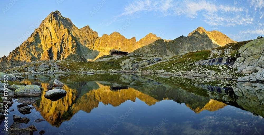 Fototapety, obrazy: Sunrise in High Tatras in Slovakia. Monumental peak Prostredny hrot. Summer scenic landscape mountain view. Alpine trail. Small cold valley with Male Spisske tarn.