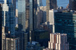 New York City Manhattan skyscrapers aerial view in the warm sunlight