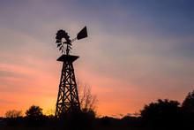 Texas Windmill At Sunset